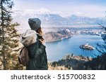 Hiking Young Woman With Alps...