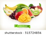 mango and juicy fruits  vector... | Shutterstock .eps vector #515724856