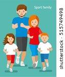 Happy Sports Family. Flat...