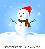 snowman with hat  scarf  snow | Shutterstock .eps vector #515766766