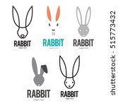 Stock vector rabbit bunny logo icon symbol emblem template set 515773432
