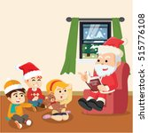 santa telling christmas story... | Shutterstock .eps vector #515776108