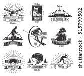 set of nine isolated monochrome ... | Shutterstock .eps vector #515799502