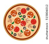 pizza with salami  sausage ... | Shutterstock .eps vector #515806012