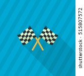 checkered flag flat  icon with... | Shutterstock .eps vector #515807572