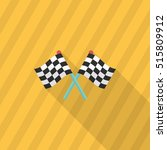 Checkered Flag Flat  Icon With...