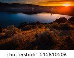 lucky peak lake dam at sunset... | Shutterstock . vector #515810506