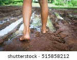 Kid Walking In Barefoot Through ...