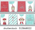 set of cute merry christmas ... | Shutterstock .eps vector #515868022