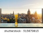 beer and foam beer on table in... | Shutterstock . vector #515870815