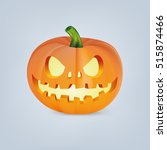 Stock vector vector illustration of orange halloween pumpkin with scary or funny carving face 515874466