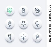 light bulbs line icons set  led ...   Shutterstock .eps vector #515875708