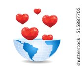 half of the world inside hearts ... | Shutterstock .eps vector #515887702
