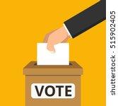 voting concept. hand putting... | Shutterstock .eps vector #515902405
