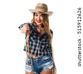 sexy blonde woman cowgirl...   Shutterstock . vector #515912626