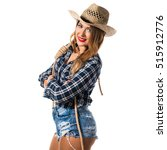 sexy blonde woman cowgirl with...   Shutterstock . vector #515912776