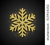 sparkling golden snowflake with ... | Shutterstock .eps vector #515914252