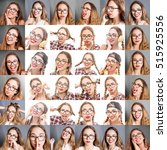 woman collage with different... | Shutterstock . vector #515925556
