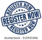 register now stamp.  blue round ... | Shutterstock .eps vector #515931406
