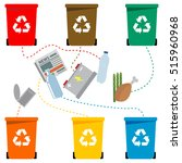 different colored recycle waste ... | Shutterstock .eps vector #515960968