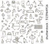hand drawn doodle plumbing... | Shutterstock .eps vector #515964916
