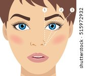 face and eyebrow mapping. how... | Shutterstock .eps vector #515972932