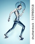 walking cyborg woman in silver... | Shutterstock . vector #515980018