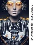 Futuristic Woman In Silver Sui...