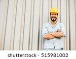 worker with yellow helmet and... | Shutterstock . vector #515981002