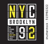 brooklyn sport run typography ... | Shutterstock .eps vector #515982322