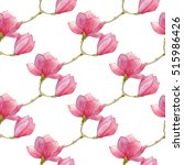 watercolor magnolia seamless... | Shutterstock . vector #515986426