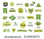 bio  ecology  organic logos and ... | Shutterstock .eps vector #515992075