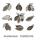 cacao beans vector icons or... | Shutterstock .eps vector #516002146