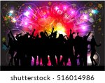 dancing people silhouettes.... | Shutterstock .eps vector #516014986
