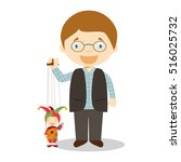 puppeteer with typical puppet... | Shutterstock .eps vector #516025732