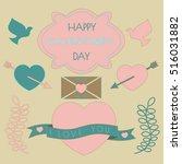 valentine's day set labels ... | Shutterstock .eps vector #516031882