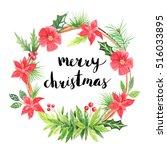 merry christmas lettering.... | Shutterstock . vector #516033895
