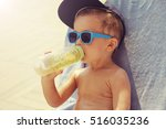 cool boy sunbathing near pool... | Shutterstock . vector #516035236