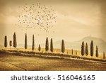 vintage tuscany landscape of... | Shutterstock . vector #516046165