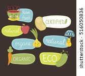 eco and bio food labels set... | Shutterstock .eps vector #516050836