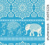 pattern with elephant and... | Shutterstock .eps vector #516051226