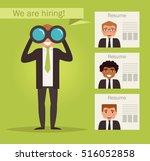 manager with binoculars looking ... | Shutterstock .eps vector #516052858
