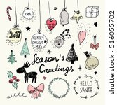 christmas and new year doodles... | Shutterstock .eps vector #516055702