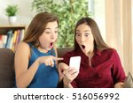 two amazed roommates watching... | Shutterstock . vector #516056992