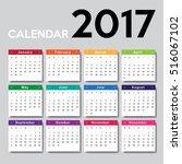 calendar 2017 template design.... | Shutterstock .eps vector #516067102