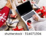 christmas online shopping above ... | Shutterstock . vector #516071506