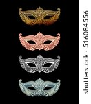 beautiful set mask of lace.... | Shutterstock .eps vector #516084556