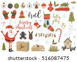 collection of vintage merry... | Shutterstock .eps vector #516087475