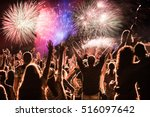 cheering crowd and fireworks  ... | Shutterstock . vector #516097642