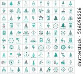 christmas icons set  isolated... | Shutterstock .eps vector #516098326